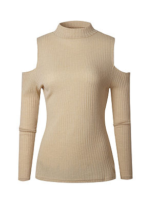 Band Collar  Cutout  Plain Sweaters