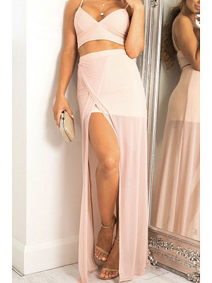 Spaghetti Strap  Asymmetric Hem  Patchwork Plain Two-Piece Outfits
