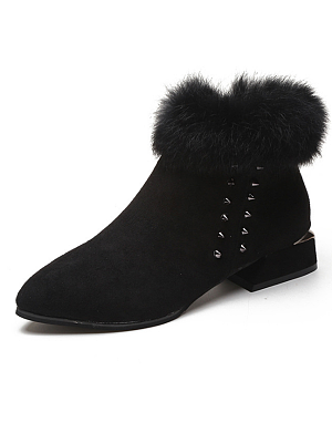 Plain  Chunky  Flat  Faux Suede  Point Toe  Casual Boots