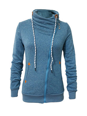Classic Band Collar  Zipper Hoodies