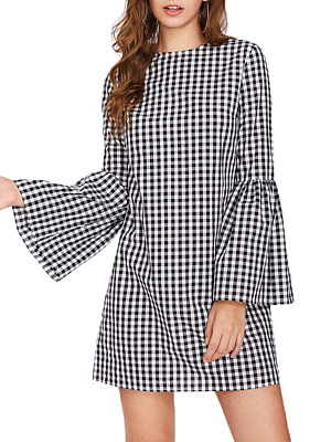 Crew Neck Plaid Bell Sleeve Shift Dress