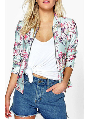Snap Front Zipper  Floral Printed Jackets