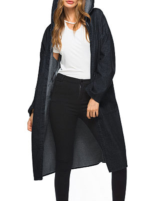 Hooded  Belt Loops  Plain Trench Coat