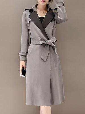 Stylish Lapel With Pockets Plain Trench-Coats