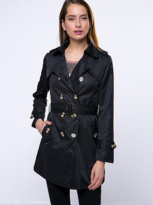 Lapel Breasted With Pockets  Trench Coat