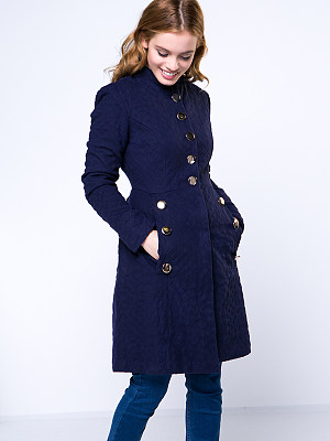 Stylish Solod-Color Band Collar Decorative Button Coat