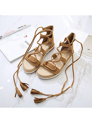 Lace Up Plain Flat Sandals