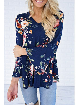V Neck  Floral Printed  Bell Sleeve T-Shirts