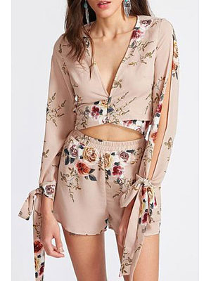 Deep V Neck  Bowknot Elastic Waist  Floral Printed Two-Piece Outfits