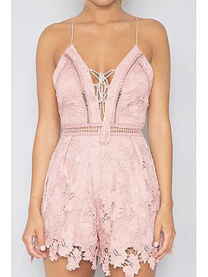 Spaghetti Strap  Lace Up  Plain Playsuits