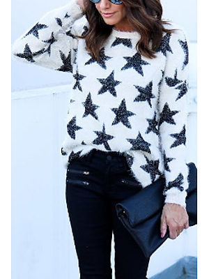 Round Neck  Star Sweaters