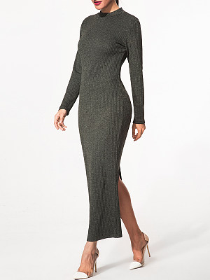 High Neck Slit Plain Knitted-Dresses