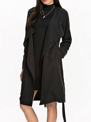 Plain Chic Collarless Trench Coats