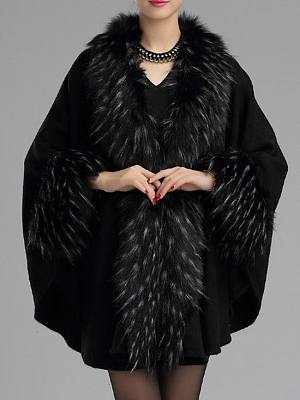 Patchwork Fur Collar Elegant Cape Sleeve Overcoats