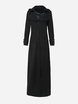 Lapel Pocket  Single Button  Plain Woolen Duster Coat