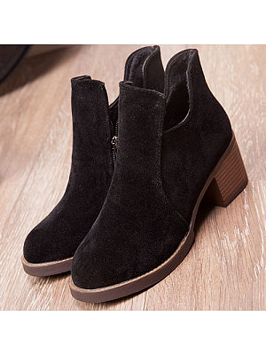 Side Zipper Chunky Plain Ankle Boots