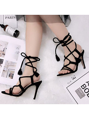 High Heel Criss Cross Sandals