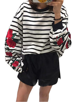 Round Neck  Embroidery Striped  Lantern Sleeve  Sweatshirts