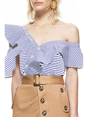 One Shoulder  Flounce Single Breasted  Striped Shirts