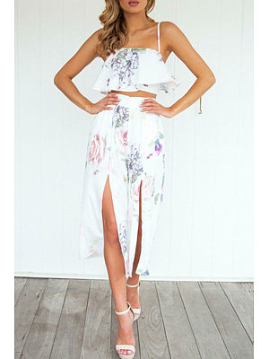 Spaghetti Strap  Slit Zipper  Floral Printed Two-Piece Outfits