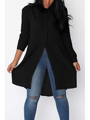 Turn Down Collar  Asymmetric Hem Single Breasted  Blouses