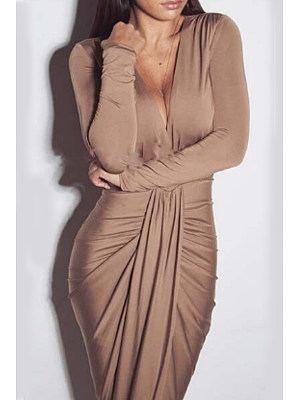 Deep V Neck  High Slit  Plain Maxi Dresses