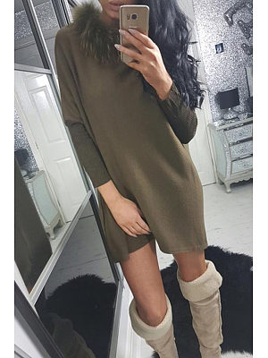 Faux Fur Collar  Patchwork Casual Dresses