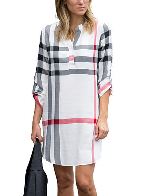 V Neck  Asymmetric Hem Gingham Casual Dresses
