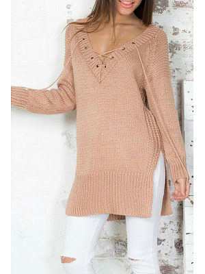 V Neck  Lace Up Side Slit  Plain Sweaters