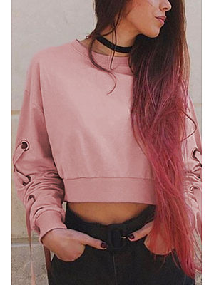 Round Neck  Bow Lace Up  Patchwork  Sweatshirts