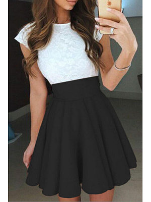 Round Neck  Patchwork  Color Block Skater Dresses