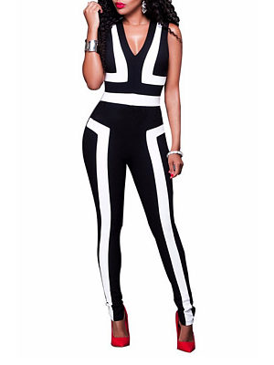 V Neck  Contrast Stitching  Color Block  Sleeveless Jumpsuits