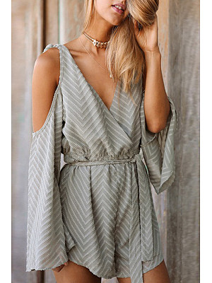 Elastic Waist Belt Wave Stripe Playsuit