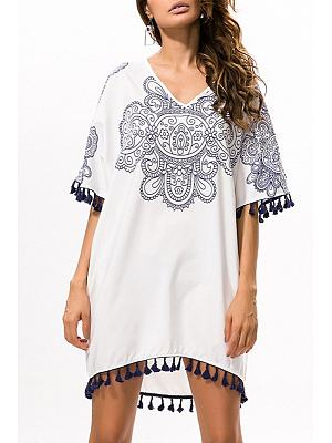 V Neck Tassel Print Casual Dress
