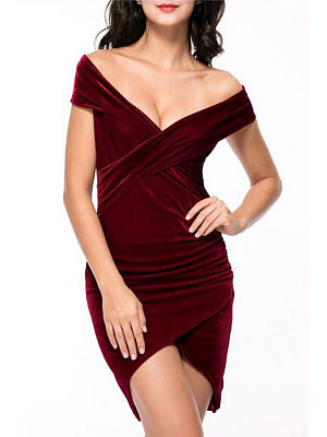 Velvet Surplice Asymmetric Hem Plain Bodycon Dress