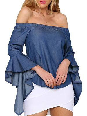 Off Shoulder Bell Sleeve Plain Shirt