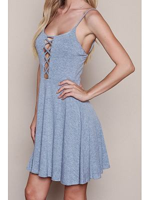 Grey Cross Straps Plain Casual Dress