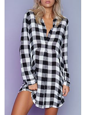 Button Down Collar Plaid Shirt