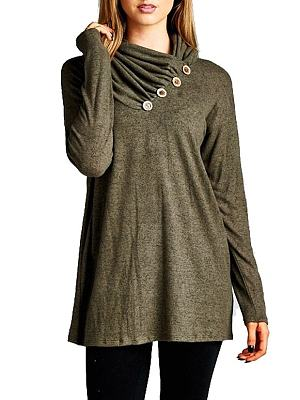 Cowl Neck Decorative Buttons Plain Shirt