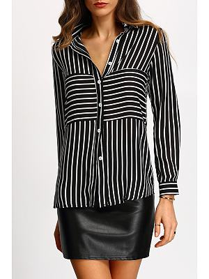 Button Down Collar Roll Up Sleeve Stripes Blouse