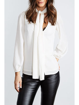 Satin V Neck Bishop Sleeve Plain Shirt
