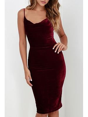 Velvet Plain Bodycon Dress
