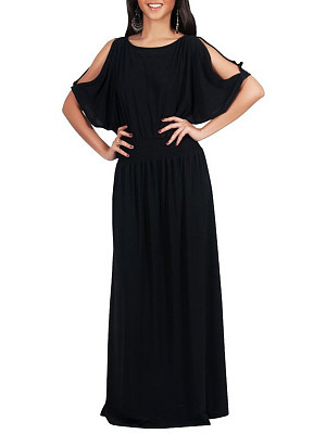 Batwing Sleeve Elastic Waist Plain Maxi Dress