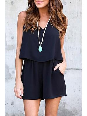 V Neck Backless Short Jumpsuit