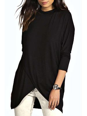 Crew Neck Batwing Sleeve Asymmetric Hem Shirt
