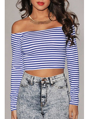 Off Shoulder Stripes Shirt