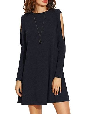 Round Neck Patchwork Plain Casual Dress