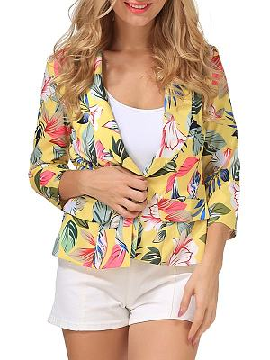 Lapel Patchwork Printed Three Quarter Sleeve Blazer