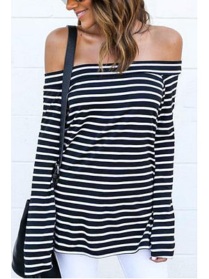 Off Shoulder Bell Sleeve Side Vented Striped T-shirts