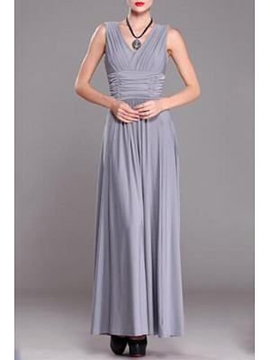 Pleated Bodice Empire Line Maxi Dress